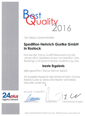 24plus Best Quality Award 2016